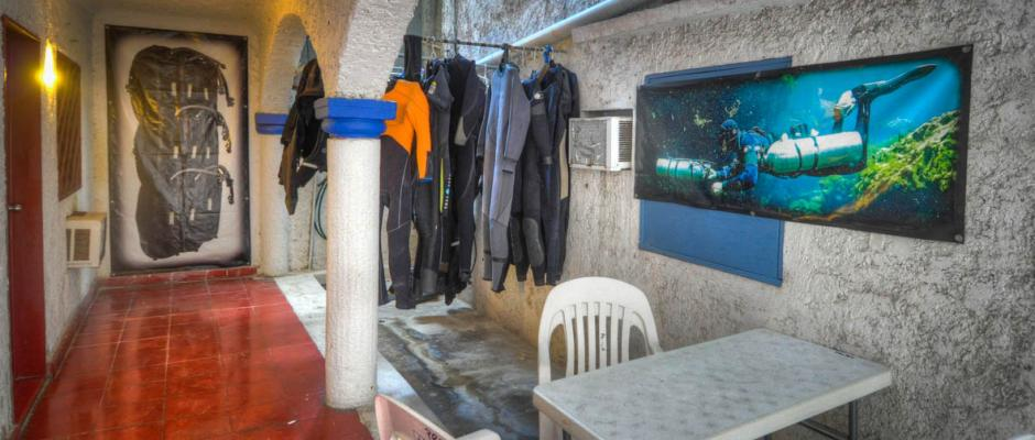 ProTec Playa Dive Center dry suit and wet suit storage area