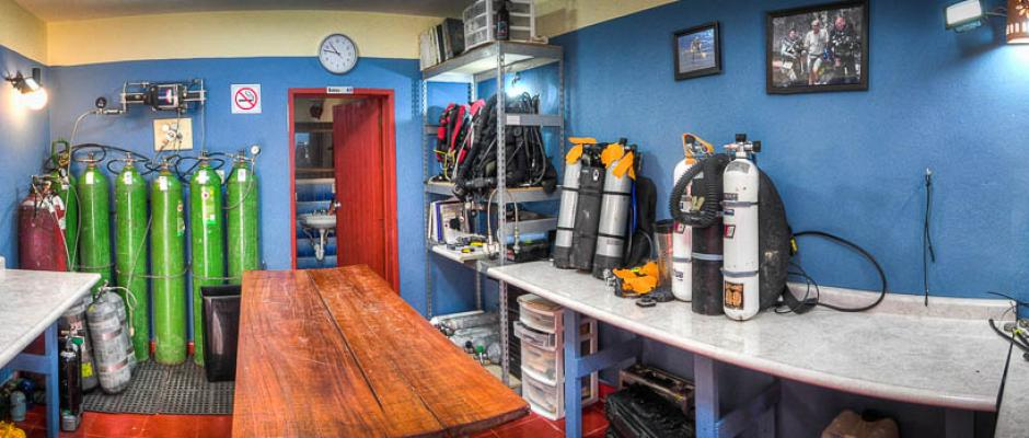 ProTec Playa Dive Center dedicated Rebreather assembly and storage room